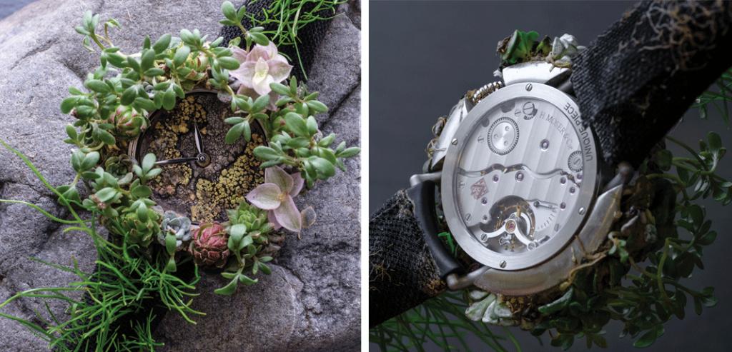 O Moser Nature Watch, um símbolo do compromisso ecológico da marca. «Make Swiss Made Green Again» é a mensagem que lhe está associada. Apresenta uma caixa de 42 mm e está equipado com o Calibre HMC 327 de corda manual, com três dias de reserva de corda| © H. Moser & Cie