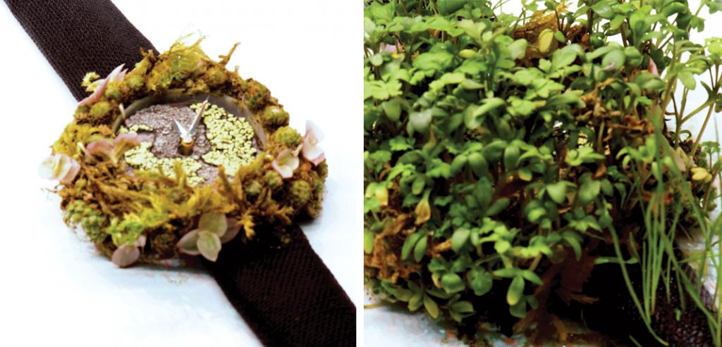 Na imagem mais à esquerda podemos observar o relógio numa fase mais inicial, sendo que à direita, observamos o relógio numa fase mais avançada. © H. Moser & Cie