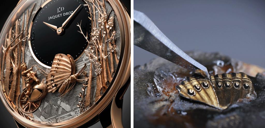 A Jaquet Droz em 2018 lançou três novas versões do relógio The Loving Butterfly Automaton, sendo uma delas esta versão em ouro vermelho com mostrador meteorito. © Jaquet Droz